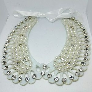 White Pearl and Diamond Collar Necklace